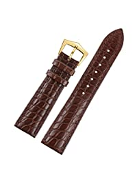23mm Brown Premium Wide Deluxe Crocodile Grain Leather Replacement Watch Bands Straps for Men Moderate Padding Crocodile Leather