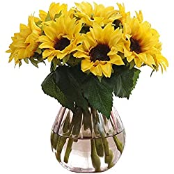 Artfen Artificial Sunflowers 6 Pcs Fake Sunflowers Preserved Flower Bouquet Bride Bridesmaid Holding Flowers Artificial Flowers Home Hotel Office Wedding Party Garden Craft Art Decor