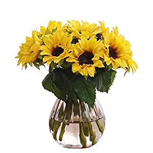 Artfen Artificial Sunflowers 6 Pcs Fake Sunflowers Preserved Flower Bouquet Bride Bridesmaid Holding Flowers Artificial Flowers for Home Hotel Office Wedding Party Garden Craft Art Decor 1