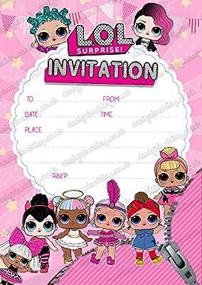 design buddies - Invitaciones para Fiesta de muñecas LOL (20 Unidades, 250 g/m², sin Sobres, Gruesas)