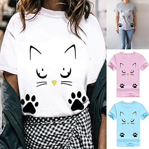 Amazon.com: YKARITIANNA Women Girl 2019 New Summer Casual O-Neck Cat Print Tops Tee Shirts Blouse: Arts, Crafts & Sewing