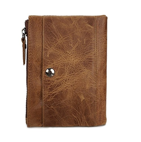 Männer Öl Wachs Haut kurze Brieftasche manuelle Reißverschluss Snap Vintage Trend Brieftasche Casual Leder Herren Tasche ZYXCC Yellow brown IjHRk3HB