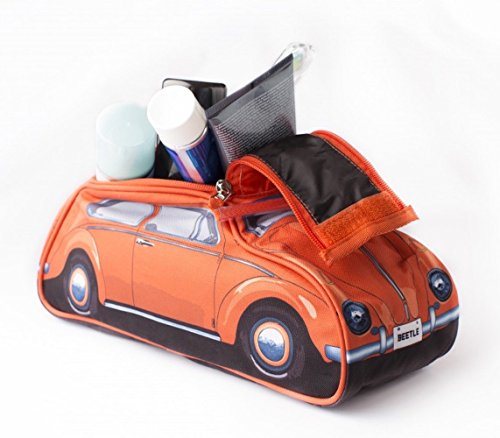Style Car Bug (Classic 60s Style Orange VW Volkswagen Beetle Toiletry Wash Bag)