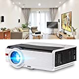 """HD Projector 4200 Luminous Efficiency with 200"""" Max Display 50,000-Hours Led Lamp Life, Mobile Portable Home Theater Projector Support 1080p HDMI, Movie Gaming TV Projector for Phone DVD Player USB"""