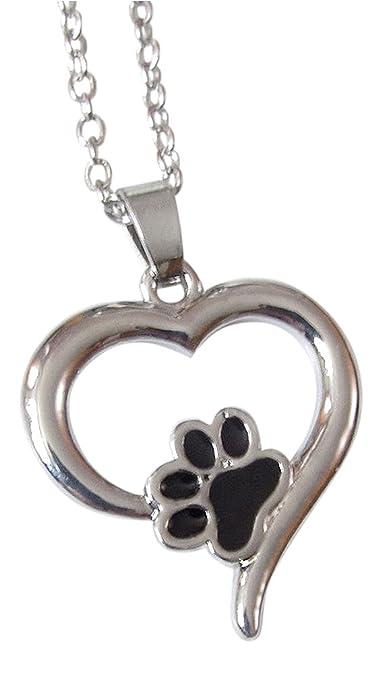 Collar con colgante con diseño de huella de perro o gato en un corazón plateado: Amazon.es: Joyería