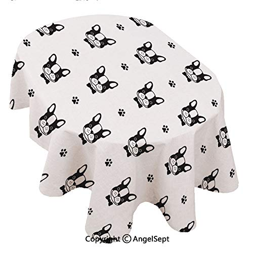 l Print Tablecloth Waterproof,Dog French Bulldog Bow ie paw ecor Seamless paern Wallpaper Background 60x120inch,Decorative Table Top Cover for Kitchen Dining Room and Table ()