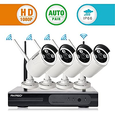 [Superior Full HD] AKASO 4CH 1080P Wireless Network IP Security Camera System WiFi NVR Kits, 4PCS Wireless Outdoor Bullet IP Cameras, P2P, Night Vision 65ft, Auto Pairing(WS2M-401) by AKASO