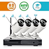 [Superior Full HD]AKASO 4CH 1080P Wireless Network IP Security Camera System WIFI NVR Kits, 4PCS Wireless Outdoor Bullet IP Cameras, P2P, Night Vision 65ft, Auto Pairing(WS2M-401)