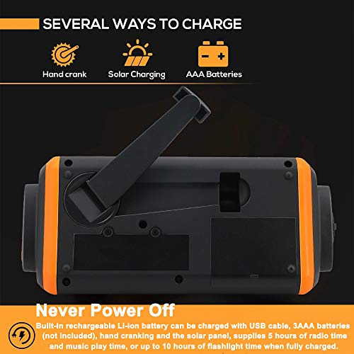 EJEAS Emergency Weather Solar Crank AM/FM NOAA Radio with SOS Alarm Portable 4000mAh Power Bank, Bright Flashlight, Reading Lamp and AUX Music Player for Household Emergency and Outdoor Survival by EJEAS (Image #2)