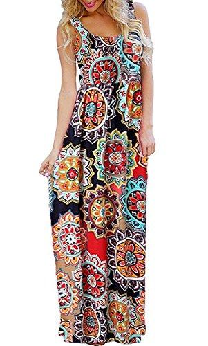 BLUETIME Women's Sleeveless Bohemian Floral Beach Tank Maxi Dresses Long Sundress with Pockets (Pattern 1, M)