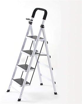 Casa Cuatro pasos de hierro escaleras de tijera, Escalera de construcción Sala de estar/balcón/granja Escalera de metal Escalera de un lado verde, rojo, blanco Engrosado: Amazon.es: Bricolaje y herramientas