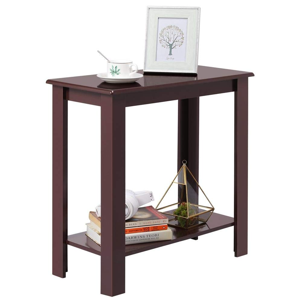 Yaheetech Chair Side Table Coffee Sofa Wooden End Shelf Living Room Furniture, Wine Red by Yaheetech