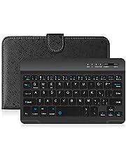 Yongluo Teclado sem fio BT portátil de couro pu com capa protetora para telefones celulares de 4,5-6,8 polegadas teclado preto