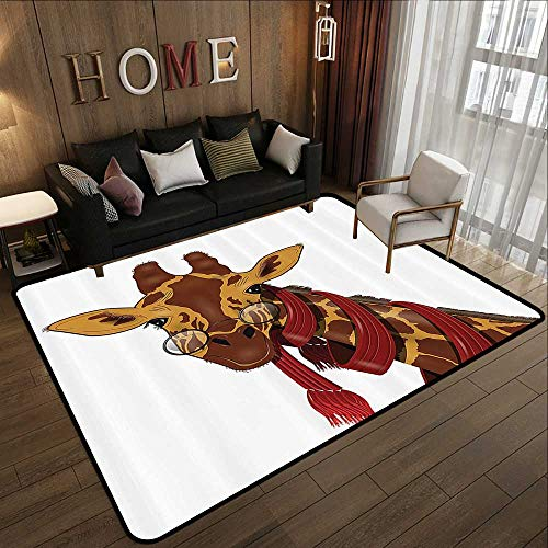 Non Slip Absorbent Carpet,Cartoon Decor Collection,Giraffe Wearing Glasses in a Red Scarf Educated Smart Looking Fun Image,Peru Sienna Red 59