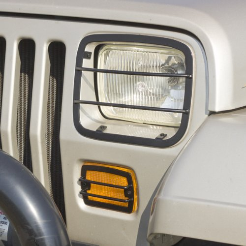 Rugged Ridge 11230.02 Black Front Euro Guard Head Light and Turn Signal Guard Kit - 4 Pieces