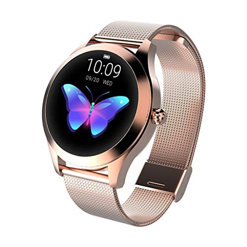 Meidexian888 KW10 Smart Watch IP68 Waterproof Heart Rate Monitoring Bracelet Fitness for Women (Gold)