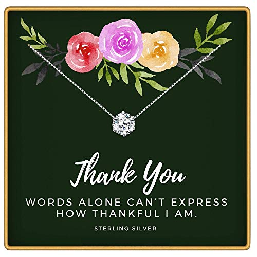 KEDRIAN Thank You Necklace, 925 Sterling Silver, Thank You Gifts for Women, Appreciation Gifts for Women, Teacher Appreciation Gifts, Thank You Gift, Friendship Necklace, Employee Appreciation Gifts (You Gifts Sentimental Thank)