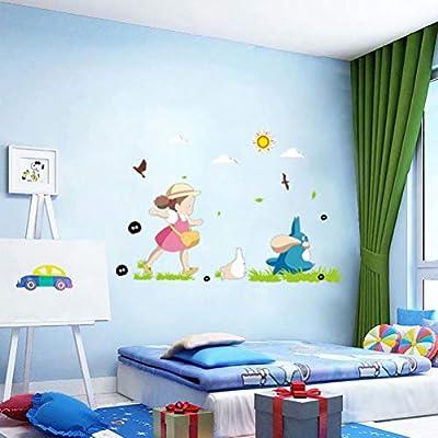 Japanese Kawaii Totoro Wall Art Sticker Adorable Baby Nursery Decor Wallpaper Decal Mural D248S 23.62x35.43
