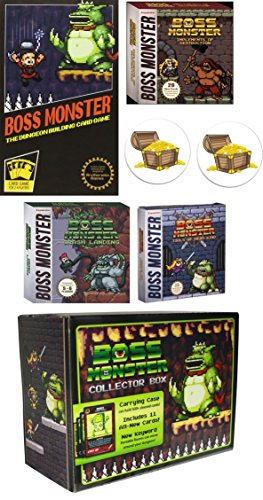 Boss Monster Card Game Bundle with Boss Monster 1 and Expansions Implements of Destruction, Crash Landing, and Tools of Hero Kind Plus the Collectors Box and 2 Treasure Chest Buttons by Mixed