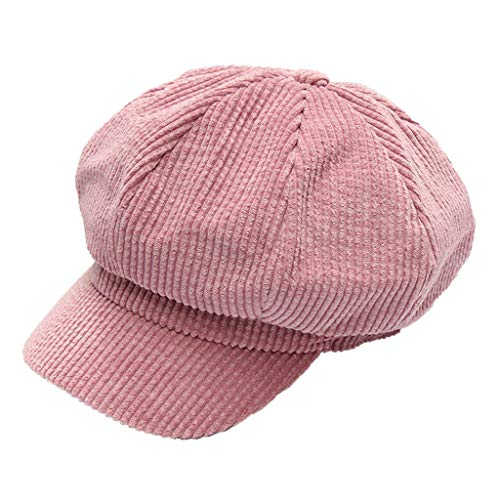 Honuansortory Corduroy Striped Newsboy Hats Painter Caps