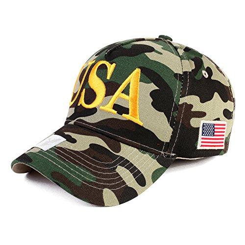 USA Embroidered hat Adjustable American Patriotic Baseball Cap Vintage Cap (Camo02)