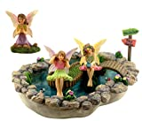 Pretmanns Fairy Garden Pond Accessories – Miniature Fairies Set – 3 Figurines & Sign – Large Lily Pond (8.3″ x 6.1″) – 5 Pieces Review