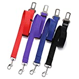 4 Pack Pet Dog Cat Seat Belt, Adjustable Safety Leads Vehicle Car Harness Seat Tether, Nylon Fabric- Black,Blue, Red, Purple