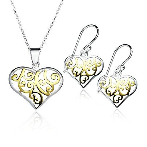 Filigree Heart Necklace Set - Yellow Gold Flash Filigree Heart Pendant Necklace Earrings Set