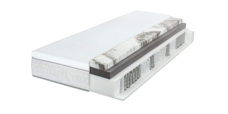 Breckle Sinfonia 500 TFK Gel Turn 7-Zonen Boxspring-Matratze H2/H3 integrierter Wendetopper, Größe:140x200 cm