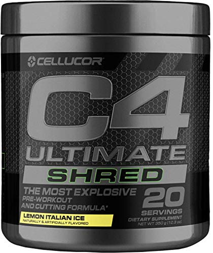 (Cellucor C4 Ultimate Shred Pre Workout Powder, Fat Burner for Men & Women, Weight Loss Supplement with Ginger Root Extract, Lemon Italian Ice, 20 Servings )