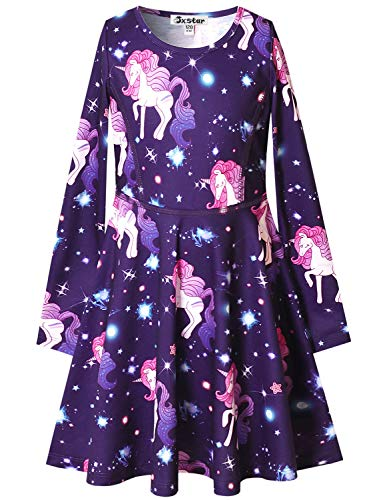Toddler Girls Unicorn Dresses Long Sleeve Casual Cotton Dress for Kid 3t 4t Navy Blue -