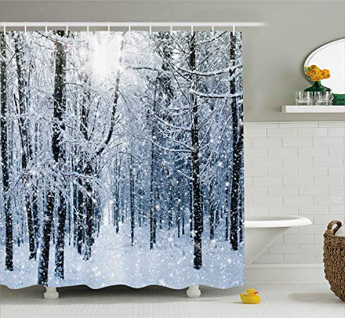 Ambesonne Snowy Winter Forest Shower Curtain, Snow on Trees, Blue White ()