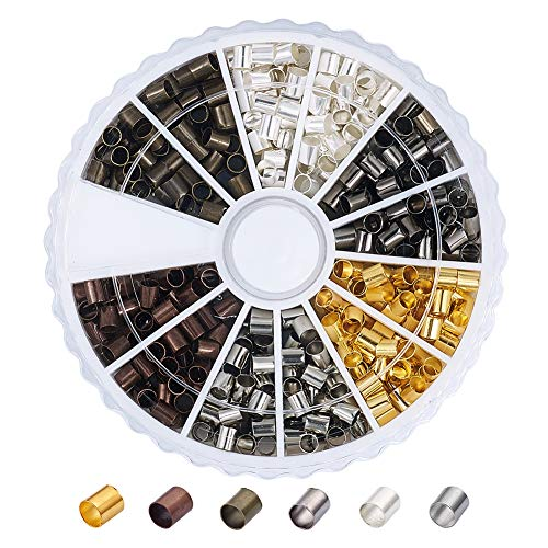 Pandahall 1Box/420pcs 6 Colors Brass Tube Crimp Beads Cord Cover Tips End Mixed Color 3x3mm Antique Bronze & Red Copper & Golden & Silver & Platinum & Black Lined Column Jewelry Findings (Beads Tube Jewelry)