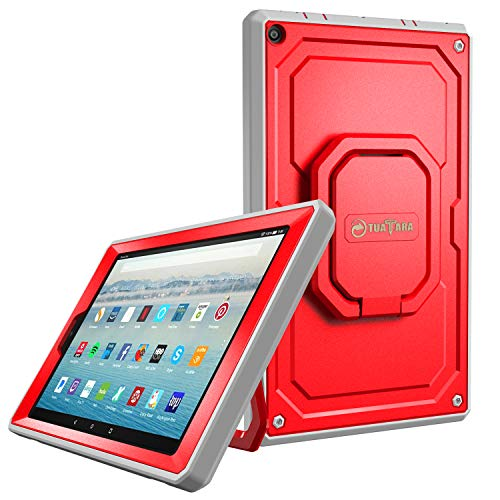 Fintie Case for All-New Amazon Fire HD 10 Tablet (7th Gen 2017) - [Tuatara Magic Ring] [360 Rotating] Multi-Functional Grip Stand Shockproof Protective Carry Cover w/Built-in Screen Protector, Red