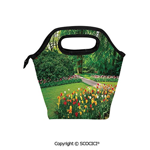 Picnic Food Insulated Cooler Tote Lunch Bag Garden with Tulip Flowers and Trees Springtime in Keukenhof Netherlands Europe Organizer Lunchbox for Women Men -