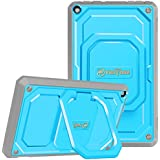 Fintie Shockproof Case for All-New Amazon Fire HD 8 Tablet (7th Gen 2017) - [Tuatara Magic Ring] [360 Rotating] Multi-Functional Grip Stand Protective Carry Cover w/Built-in Screen Protector, Blue