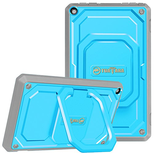Fintie Shockproof Case for All-New Amazon Fire HD 8 (7th and 8th Generation Tablets, 2017 and 2018 Releases) - [Tuatara Magic Ring] [360 Rotating] Multi-Functional Grip Stand Carry Cover, Blue