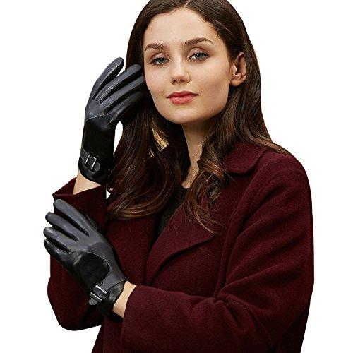 【GSG】ファッション レディース レザーグローブ 革手袋 配色 防寒 スマホ タッチパネル対応 不規則 ボタン 運転 ドライビンググローブ 170036