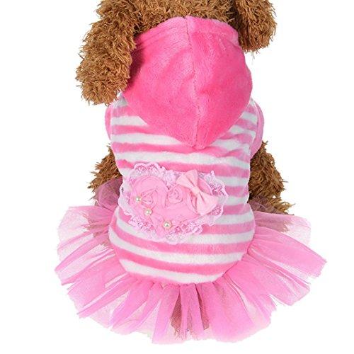 (Howstar Puppy Cute Dress, Girls Dog Pet Velvet Princess Ruffles Dress Fashion Clothing Apparel (Pink, L))