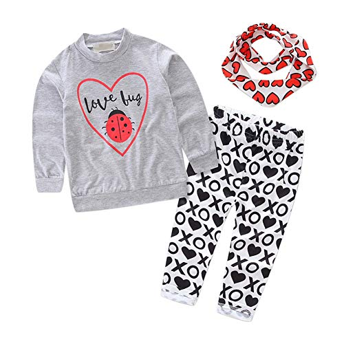 MiyaSudy Baby Girls Love Bug T-Shirt Tops and Printed Pant with Headband Kids Clothes Outfits Autumn by MiyaSudy (Image #1)