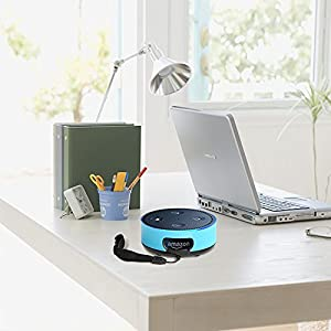 Amazon Echo Dot -Protective Case ,Alexa Case Cover Premium Leather wall mount Sleeve Skins (fits Echo Dot 2nd Generation only ) Blue