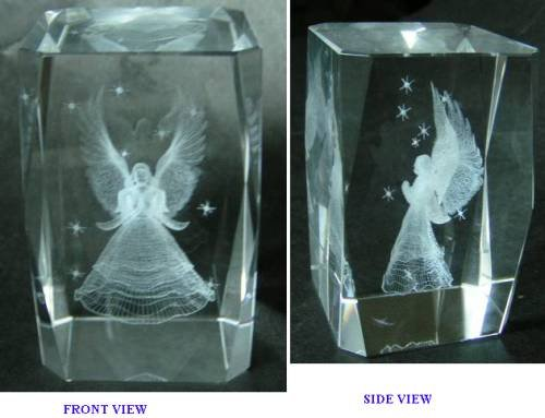 FavorOnline Crystal Cube Icon with 3-D Laser Engraved Angel (Crystal Figurine 3d Laser)