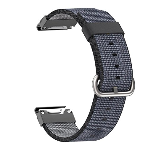 Owill Durable Woven Nylon Strap Replacement Quick Release Easy Fit Band for Garmin Forerunner 935, Band Length:225mm (Black)