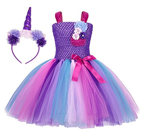 Rizoo Little Girls Rainbow Unicorn Outfits Summer Sleeveless Dresses with Headband Birthday Evening Tutu Dress (2-3T, Purple) -