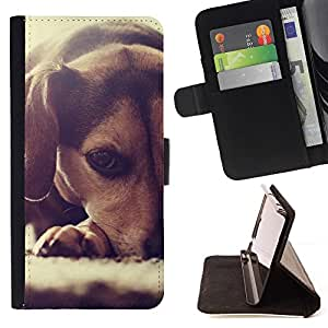 Momo Phone Case / Flip Funda de Cuero Case Cover - Perrito del beagle Peque?o Perro raposero; - HTC One A9