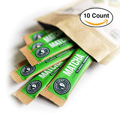 (Jade Leaf Matcha Green Tea Powder - Ceremonial Single Serve Stick Packs - USDA Organic, Authentic Japanese Origin - Antioxidants, Energy [10 Count])
