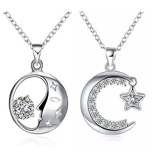 925 Sterling Silver Moon Star Crescent Two-Piece Jewelry Necklace Set For Women Teen Girls Prime Gift (Sweet Romance Jewelry Wholesale)