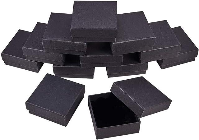 BENECREAT 12 Pack Negra Caja de Joya Caja de Cartón Craft con Almohadilla de Terciopelo Elegante para Presentación de Anillo Pendientes Collar 8.5x8.5x3.5cm: Amazon.es: Hogar