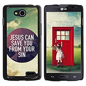 Paccase / SLIM PC / Aliminium Casa Carcasa Funda Case Cover para - BIBLE Jesus Can Save You From Your Sins - LG OPTIMUS L90 / D415