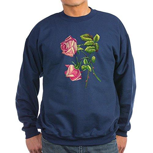 Dark Pink Classic Rose - CafePress - A PAIR OF PINK ROSES Sweatshirt (Dark) - Classic Crew Neck Sweatshirt